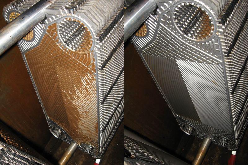 Пластины до и после разборной промывки теплообменника